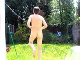 chris ellis excercises naked outside