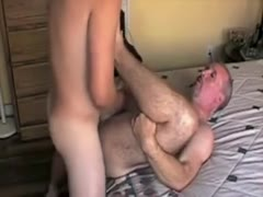 Younger guys cums in older guys ass