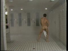 Jeff Stryker's shower dick dance, watch him swing that thing
