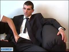 Hot gauy in suit wanks