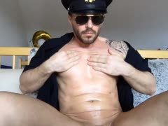 Officer Shoves His Baton Up His Butt to Cum