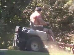 daddy mowing lawn