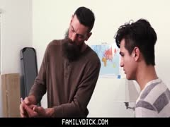 Daddy teaches virgin stepson to suck and fuck