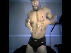 black muscle stud jerks off on cam